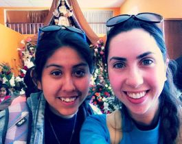 Finally at the Virgin de Chapi, after 10 hours of hiking! // Finalmente estamos al sitio de la Virgen de Chapi.